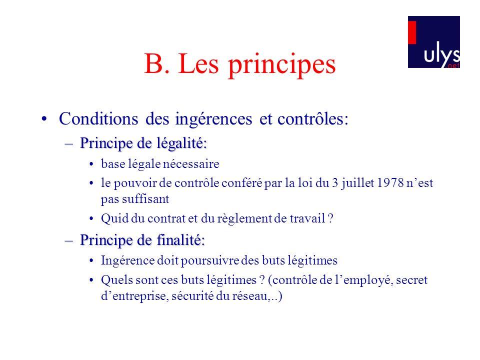 B. Les principes Conditions des ingérences et contrôles: