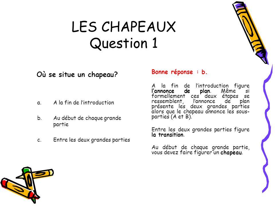 LES CHAPEAUX Question 1 Où se situe un chapeau Bonne réponse : b.