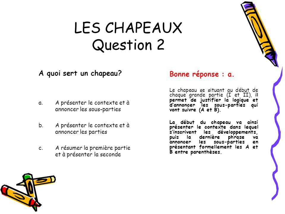 LES CHAPEAUX Question 2 A quoi sert un chapeau Bonne réponse : a.