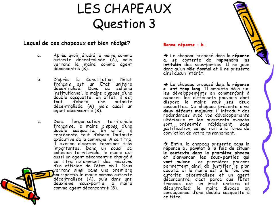 LES CHAPEAUX Question 3 Lequel de ces chapeaux est bien rédigé