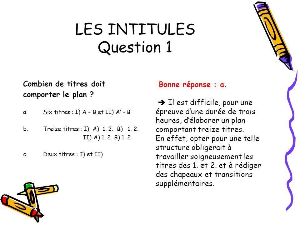 LES INTITULES Question 1