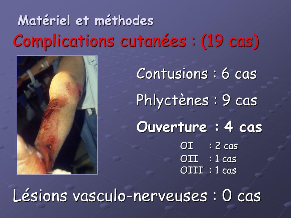 Complications cutanées : (19 cas)