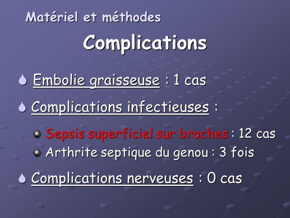 Complications Embolie graisseuse : 1 cas Complications infectieuses :
