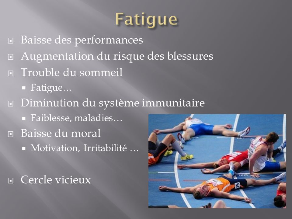 Fatigue Baisse des performances Augmentation du risque des blessures