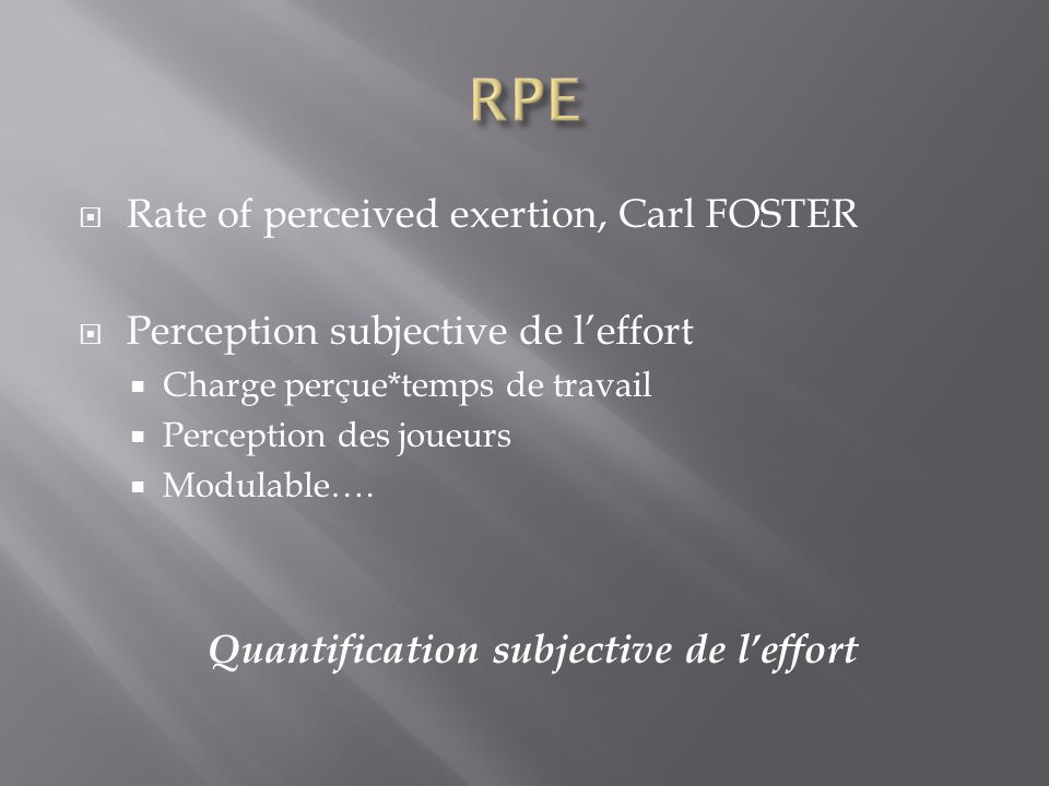 Quantification subjective de l'effort