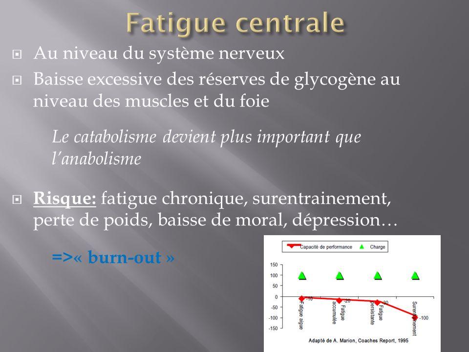 Fatigue centrale Au niveau du système nerveux