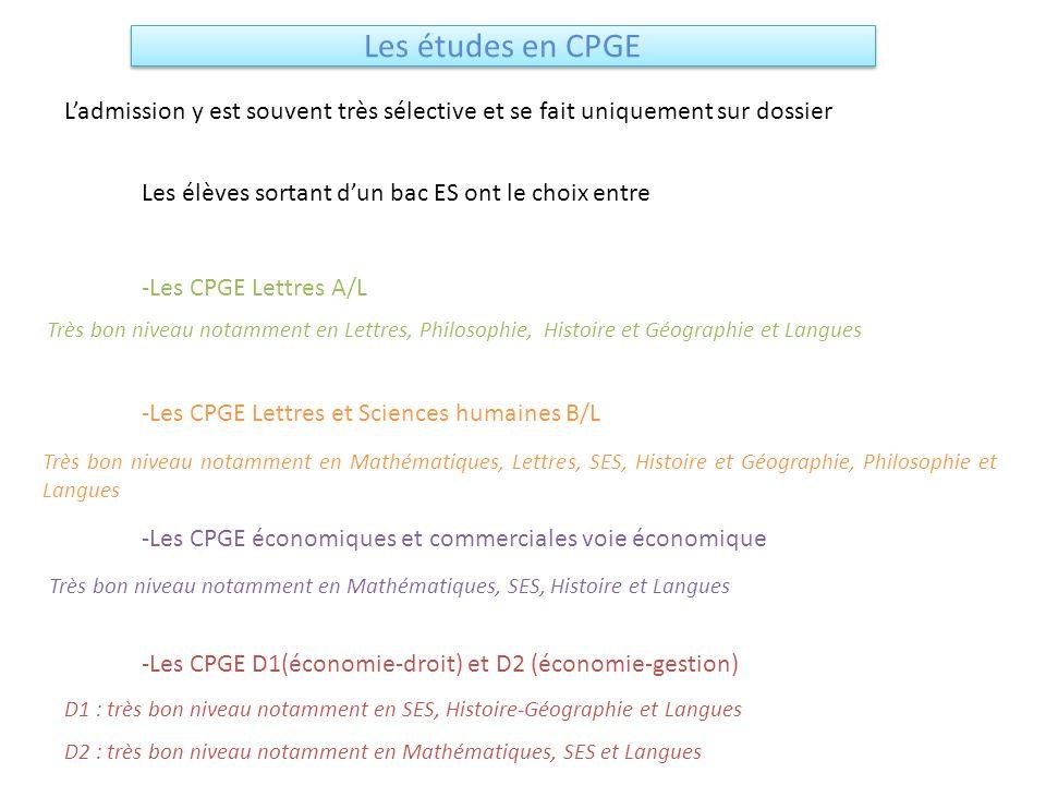 Les études en CPGE L'admission y est souvent très sélective et se fait uniquement sur dossier. Les élèves sortant d'un bac ES ont le choix entre.