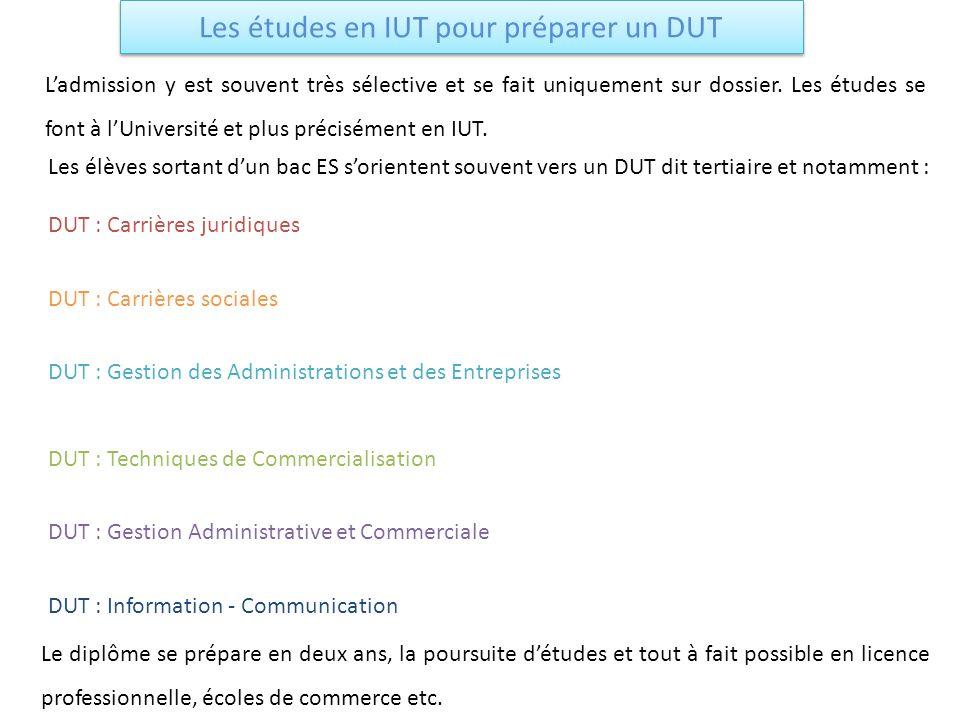 Les études en IUT pour préparer un DUT