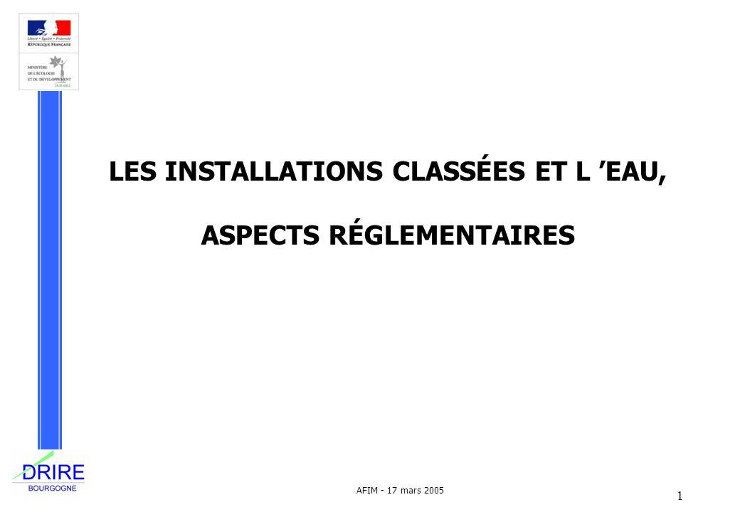 LES INSTALLATIONS CLASSÉES ET L 'EAU, ASPECTS RÉGLEMENTAIRES