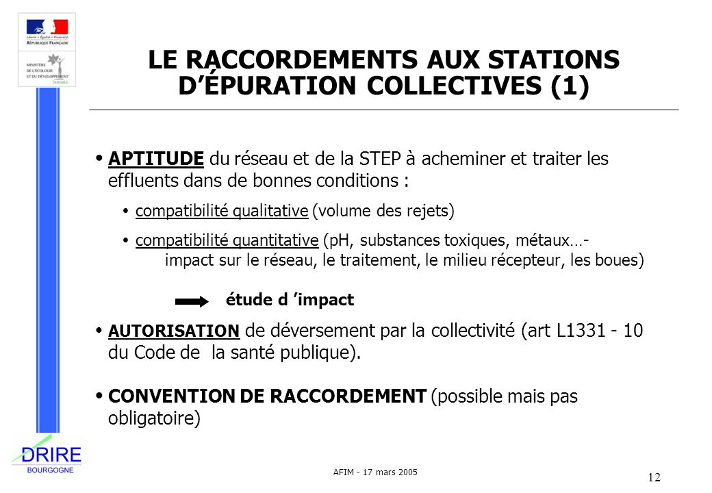 LE RACCORDEMENTS AUX STATIONS D'ÉPURATION COLLECTIVES (1)