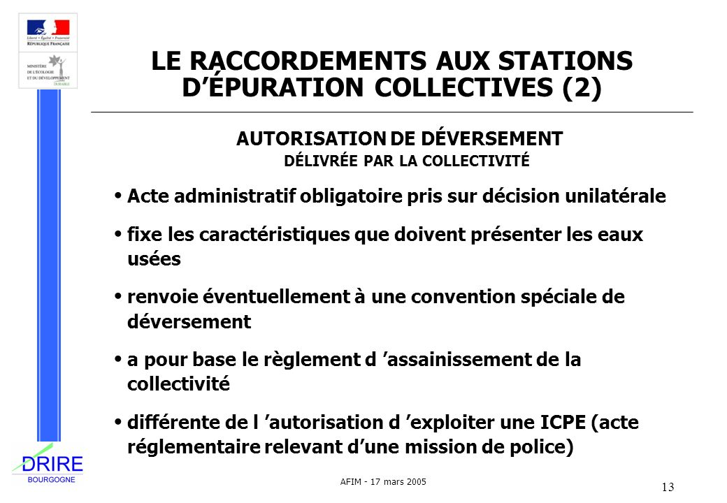 LE RACCORDEMENTS AUX STATIONS D'ÉPURATION COLLECTIVES (2)
