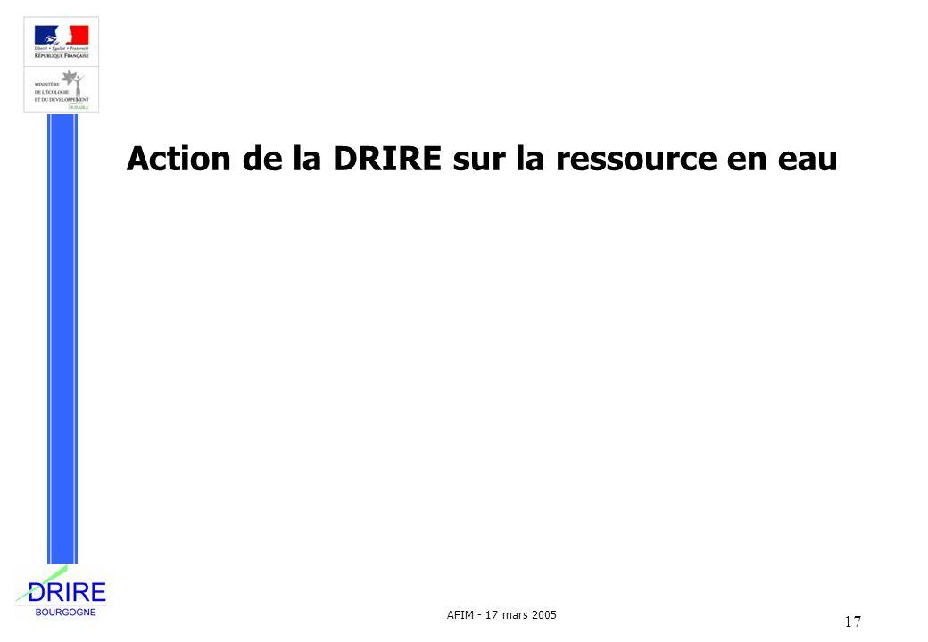 Action de la DRIRE sur la ressource en eau