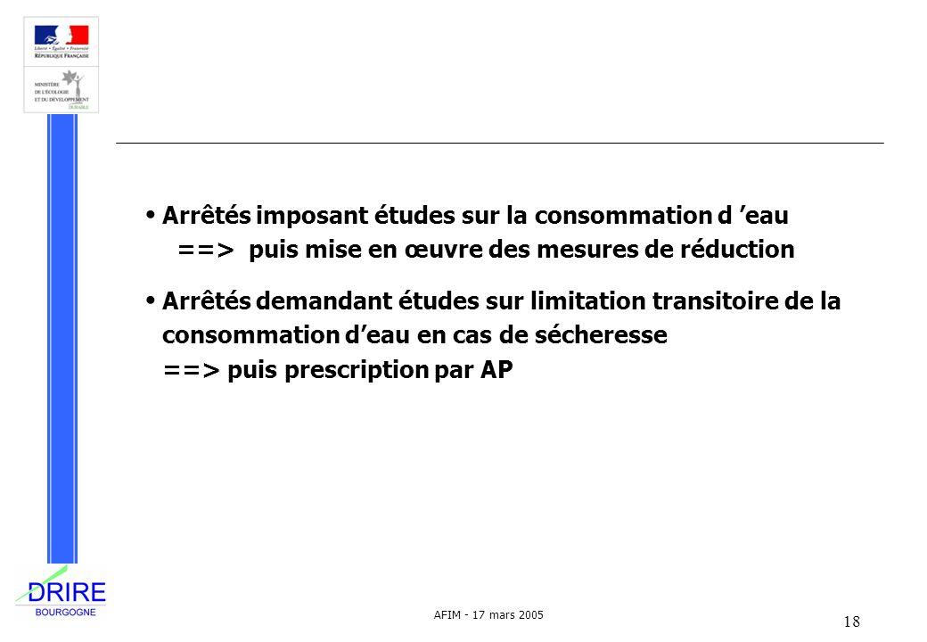 Arrêtés imposant études sur la consommation d 'eau ==> puis mise en œuvre des mesures de réduction