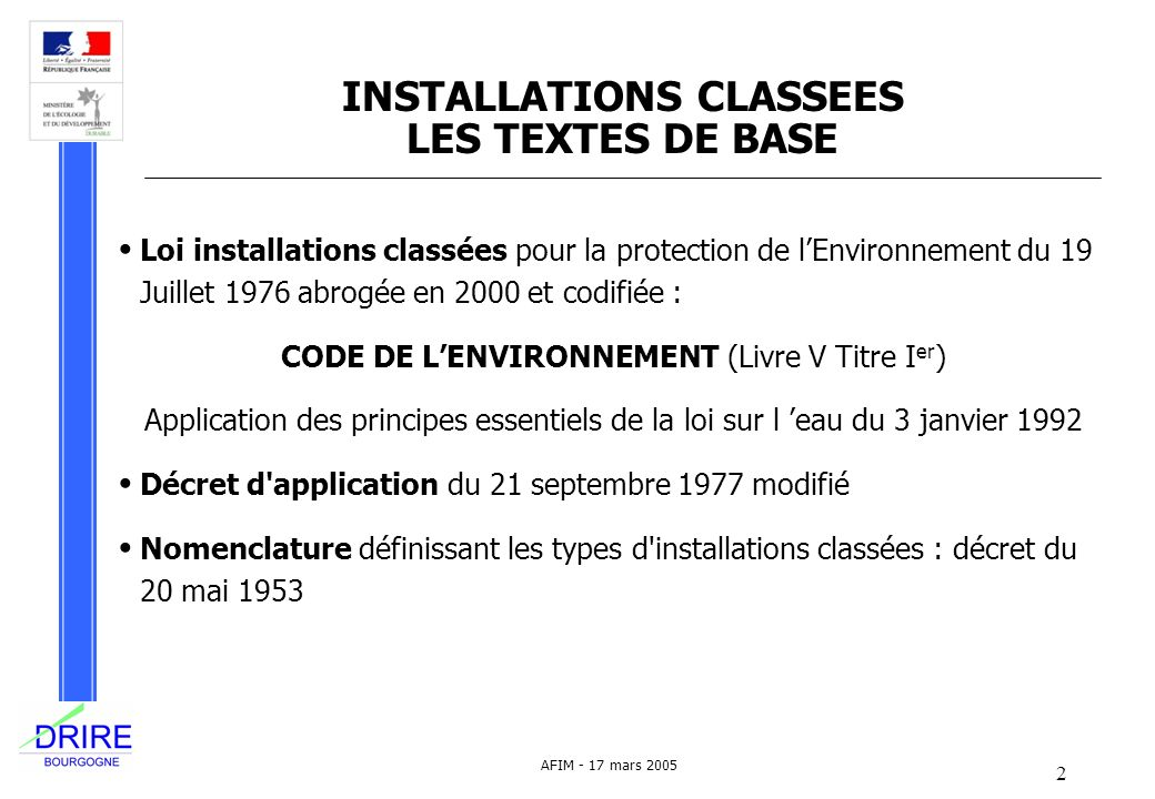 INSTALLATIONS CLASSEES LES TEXTES DE BASE