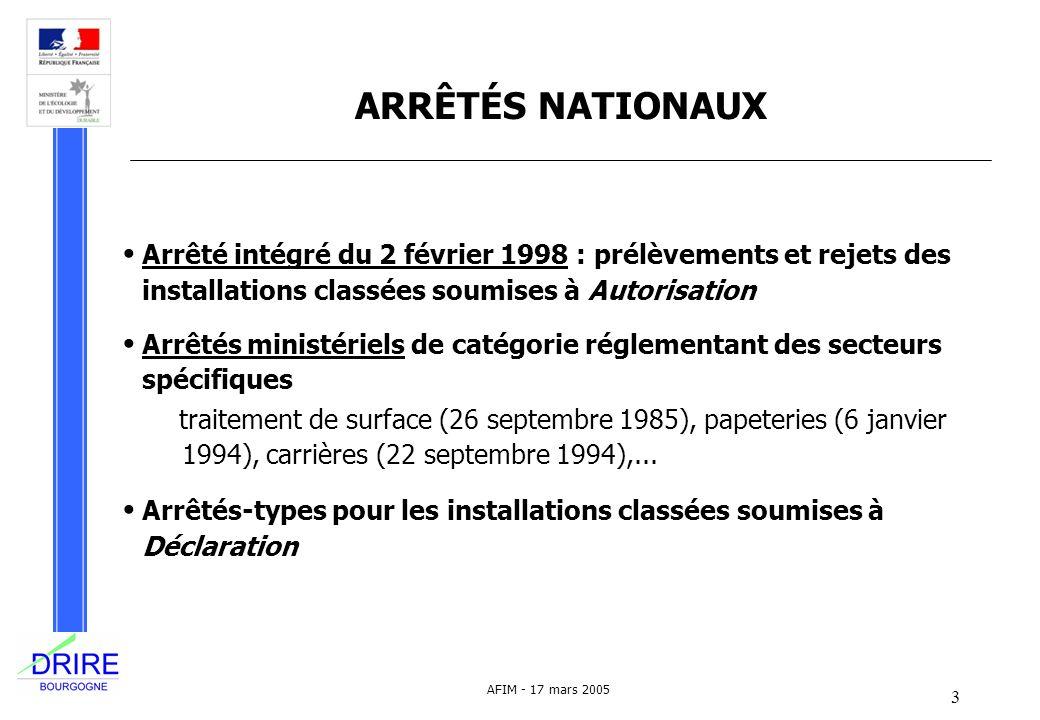 DRIRE BOURGOGNE ARRÊTÉS NATIONAUX. Arrêté intégré du 2 février 1998 : prélèvements et rejets des installations classées soumises à Autorisation.