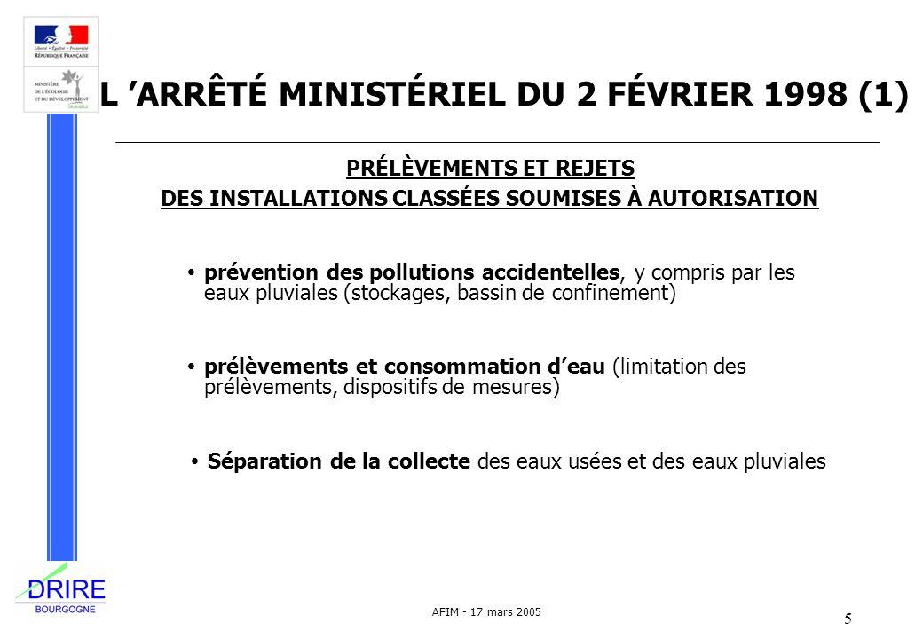 L 'ARRÊTÉ MINISTÉRIEL DU 2 FÉVRIER 1998 (1)