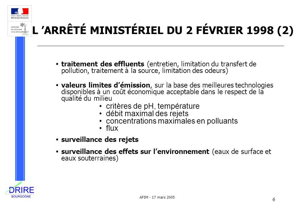 L 'ARRÊTÉ MINISTÉRIEL DU 2 FÉVRIER 1998 (2)
