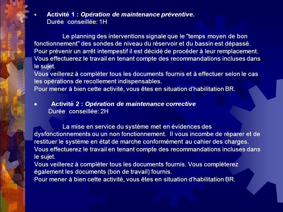 · Activité 1 : Opération de maintenance préventive