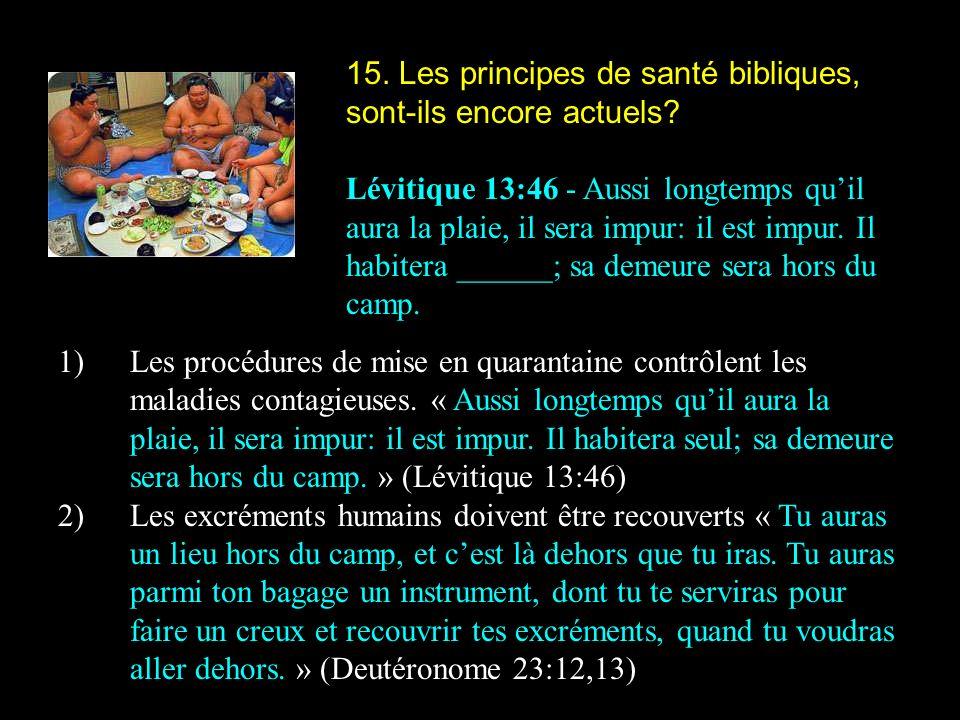 15. Les principes de santé bibliques, sont-ils encore actuels