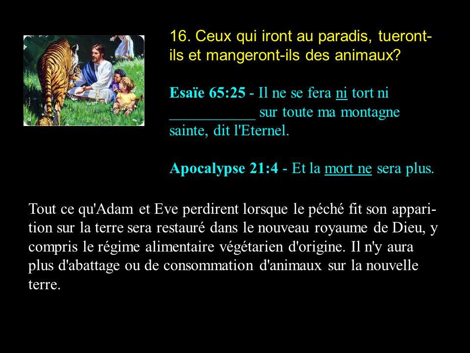 16. Ceux qui iront au paradis, tueront-ils et mangeront-ils des animaux