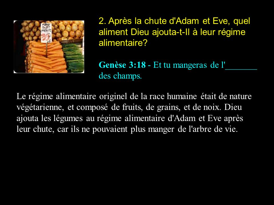 2. Après la chute d Adam et Eve, quel aliment Dieu ajouta-t-Il à leur régime alimentaire