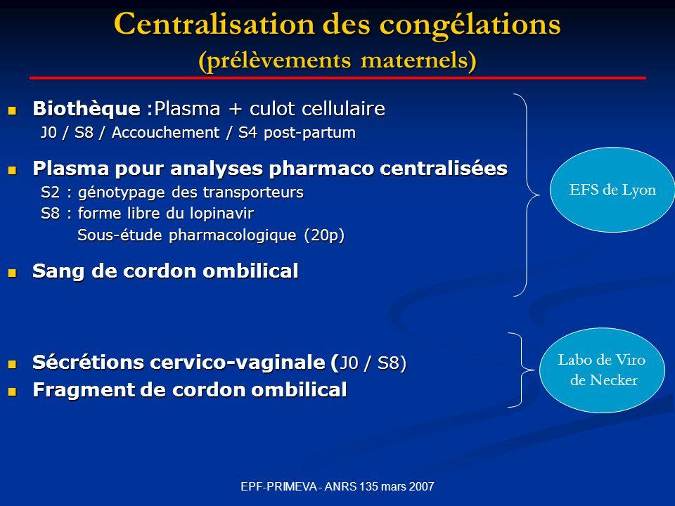 Centralisation des congélations (prélèvements maternels)