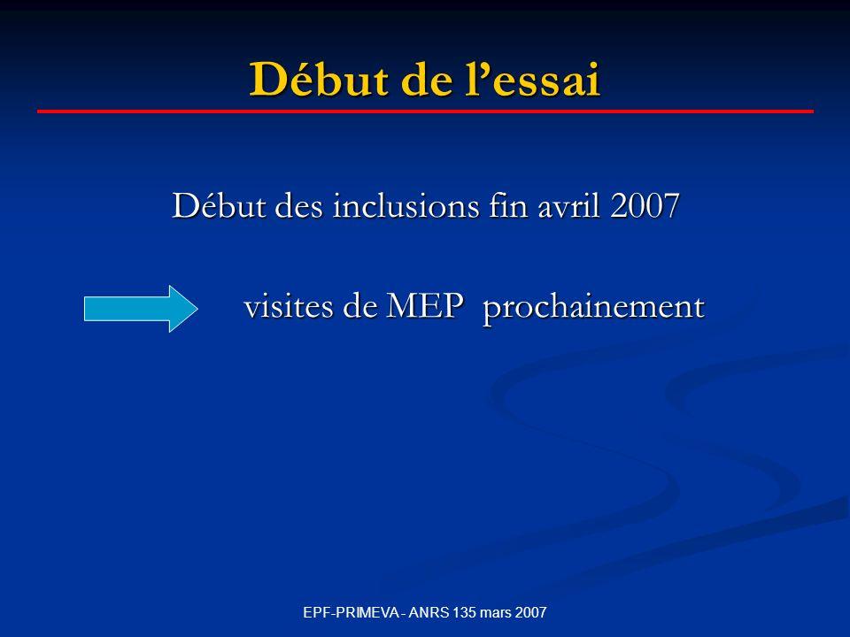 Début de l'essai Début des inclusions fin avril 2007