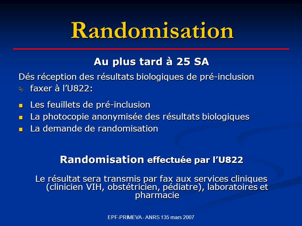 Randomisation effectuée par l'U822