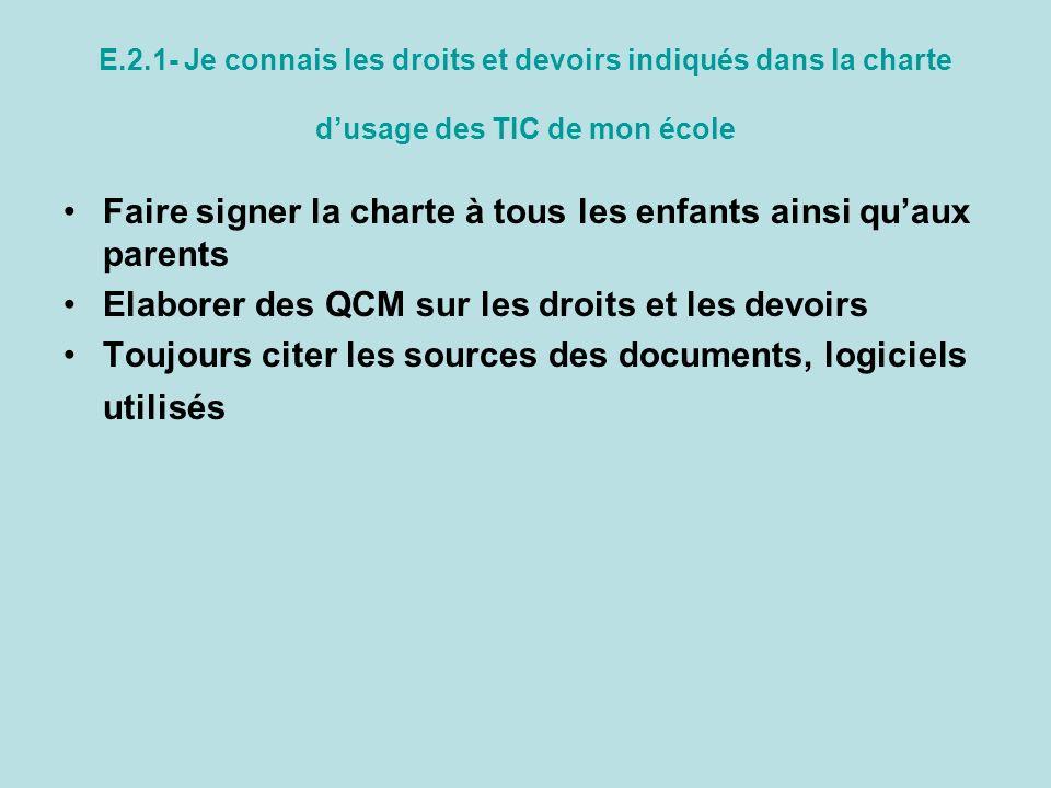 Faire signer la charte à tous les enfants ainsi qu'aux parents