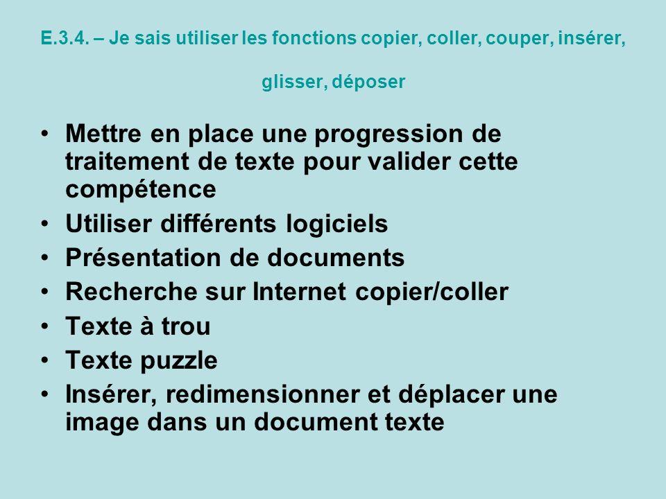 Utiliser différents logiciels Présentation de documents