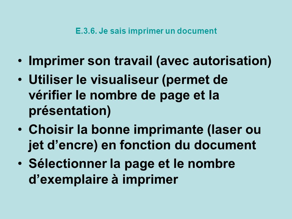 E.3.6. Je sais imprimer un document