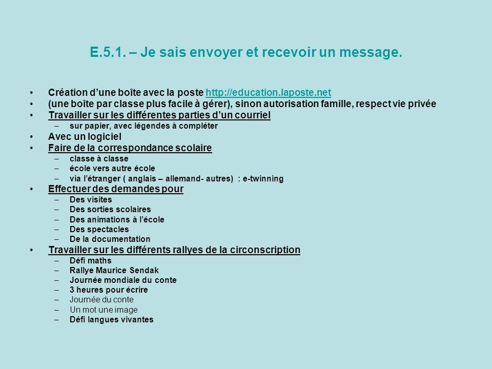 E.5.1. – Je sais envoyer et recevoir un message.