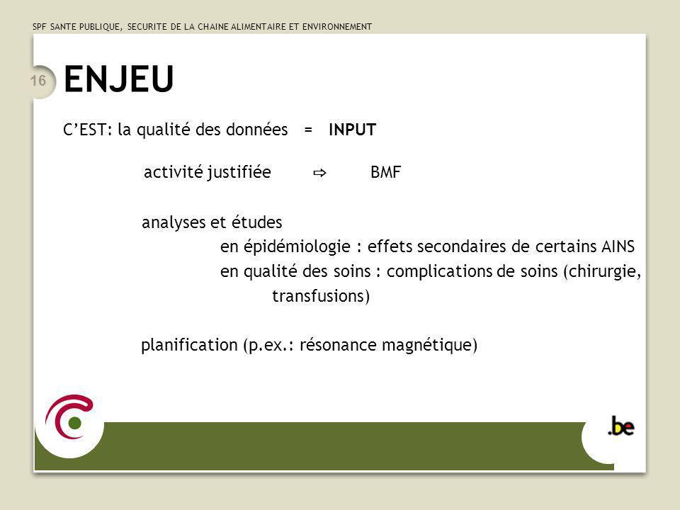 ENJEU C'EST: la qualité des données = INPUT activité justifiée ⇨ BMF