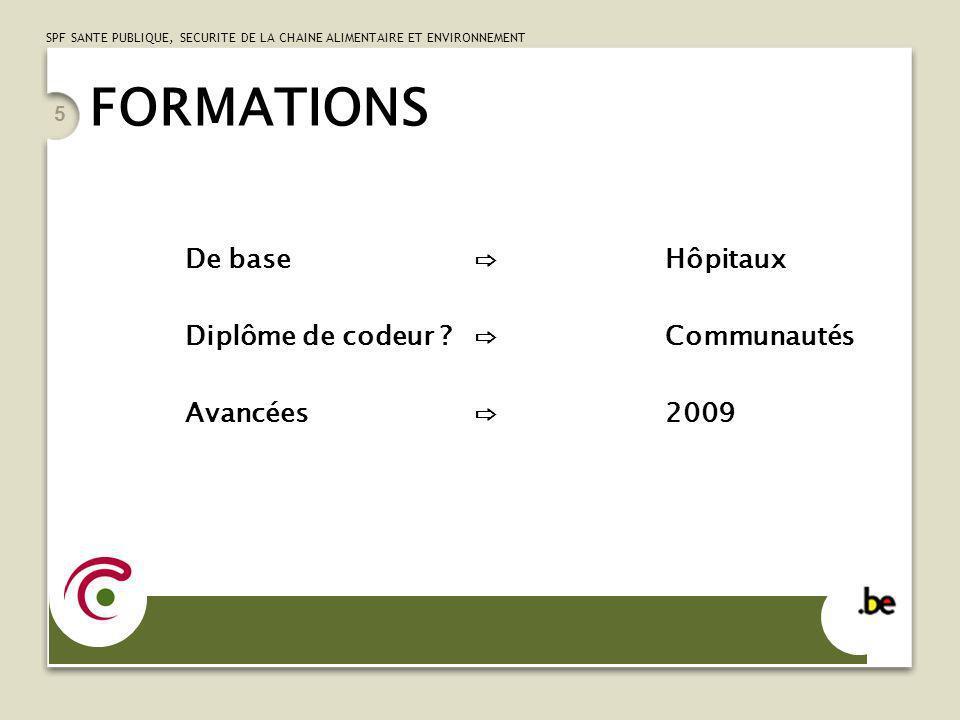 FORMATIONS De base ⇨ Hôpitaux Diplôme de codeur ⇨ Communautés