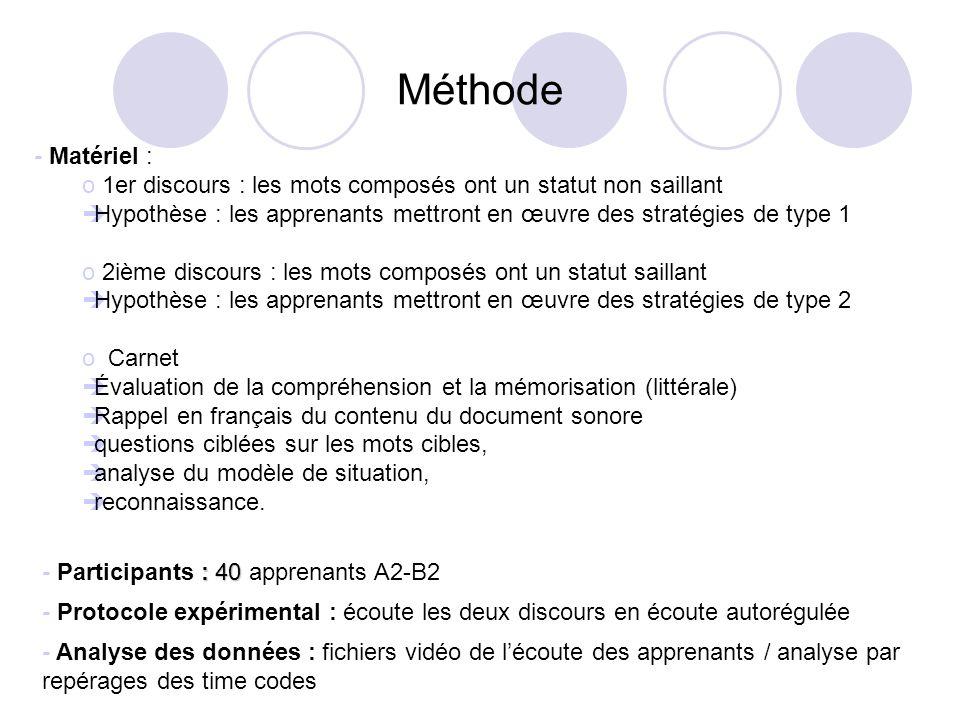 Méthode - Matériel : 1er discours : les mots composés ont un statut non saillant.