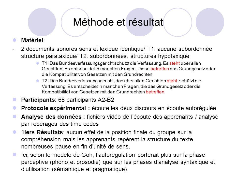 Méthode et résultat Matériel: