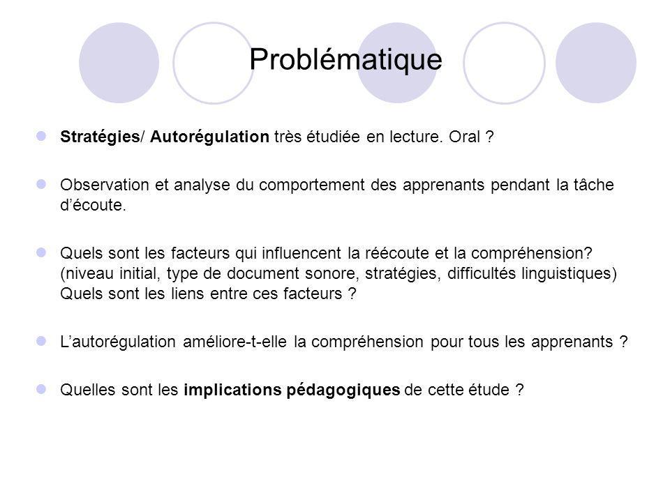Problématique Stratégies/ Autorégulation très étudiée en lecture. Oral