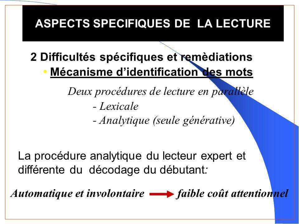 ASPECTS SPECIFIQUES DE LA LECTURE
