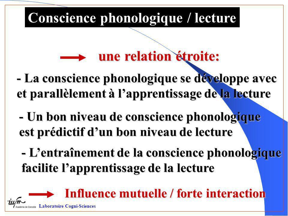 Conscience phonologique / lecture