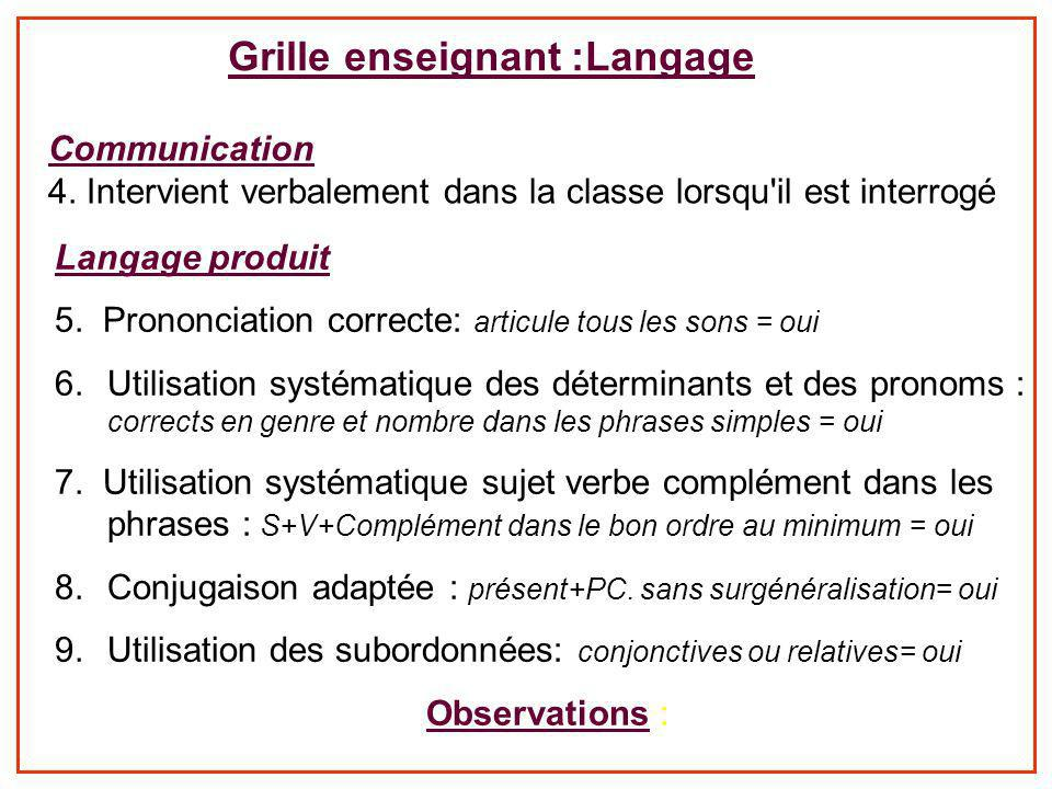Grille enseignant :Langage