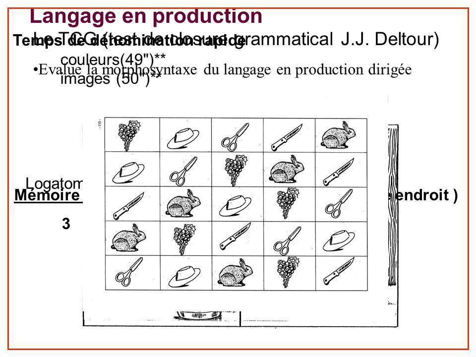 Langage en production Temps de dénomination rapide. couleurs(49 )** images (50 )** TCG (15)** /30.