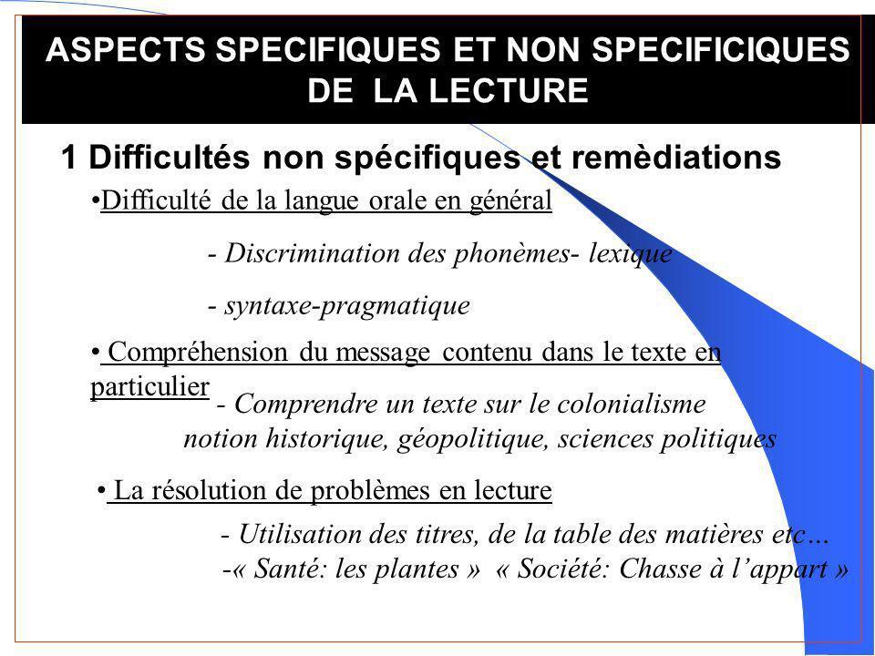 ASPECTS SPECIFIQUES ET NON SPECIFICIQUES DE LA LECTURE