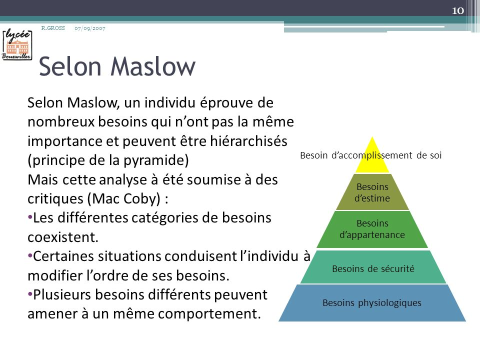 R.GROSS 07/09/2007. Selon Maslow.