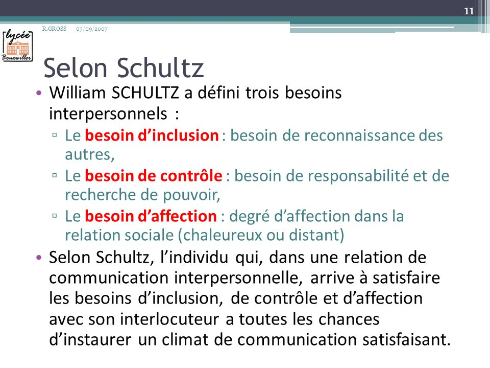 Selon Schultz William SCHULTZ a défini trois besoins interpersonnels :