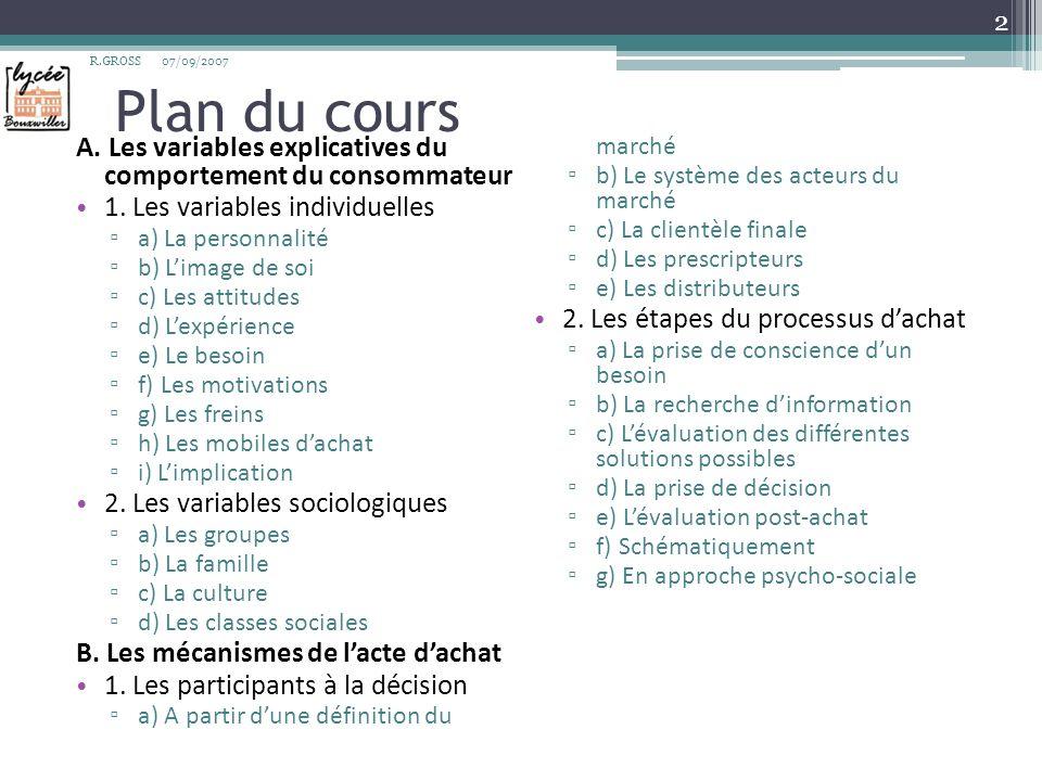 R.GROSS Plan du cours. 07/09/2007. A. Les variables explicatives du comportement du consommateur.