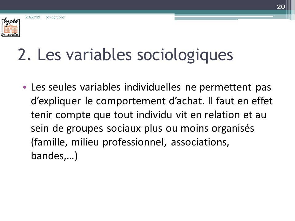 2. Les variables sociologiques