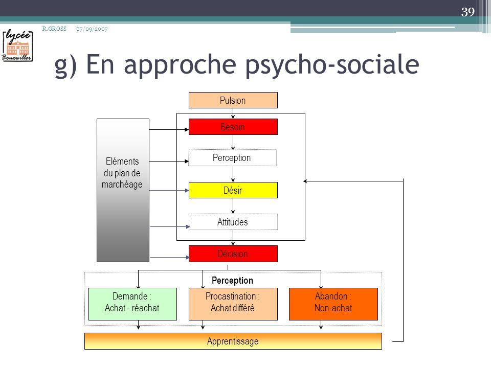 g) En approche psycho-sociale