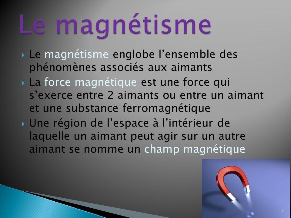 Le magnétisme Le magnétisme englobe l'ensemble des phénomènes associés aux aimants.