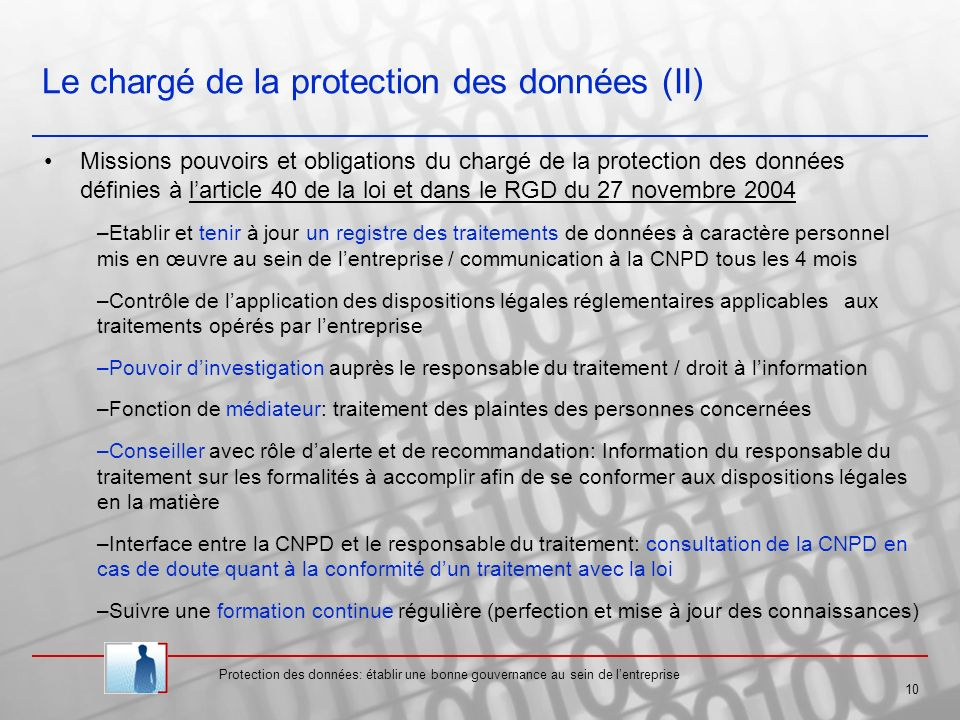 Le chargé de la protection des données (II)