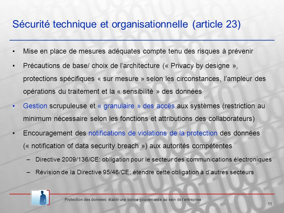 Sécurité technique et organisationnelle (article 23)